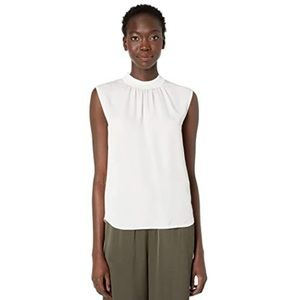 NEW Vince Rib Trim Shell Blouse in Off White